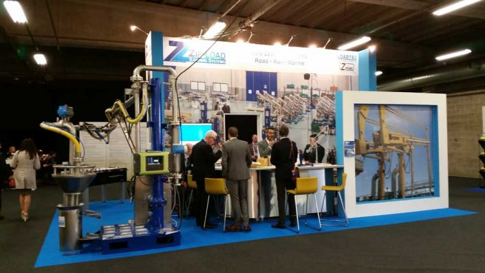 The Loadtec/Zipfluid stand at StocExpo 2016 in Antwerp, Belgium, presenting the Zip-Load range of safe loading systems