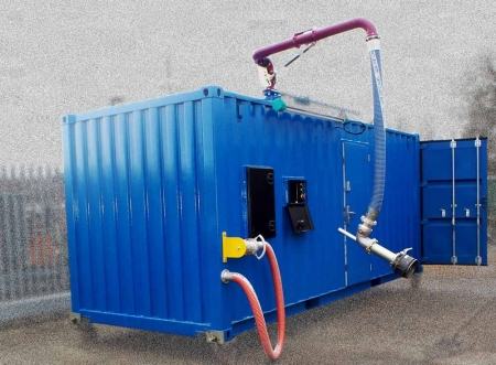 Loadtec Skid Load System - Single loading arm, pumping, metering and overfill protection, in container - UK