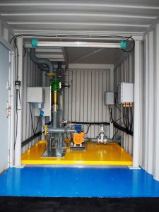 Inside Loadtec Skid Load System housed inside a shipping container - Newcastle, UK