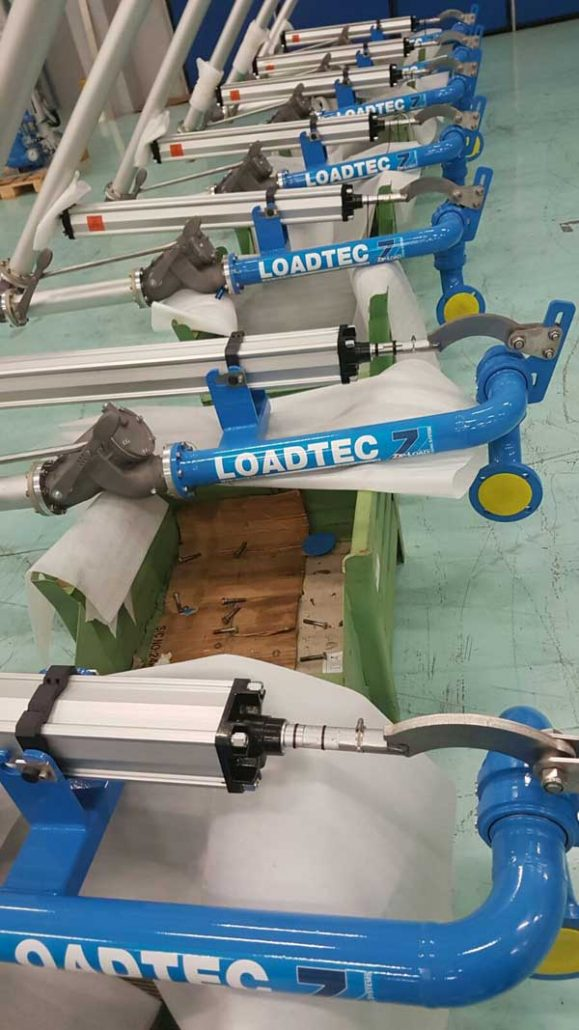 Carbis Loadtec Factory Visit - Close-up of Loading Arms on Assembly Line