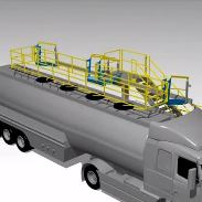 Animation showing Loadtec large cage safety solution on tanker top