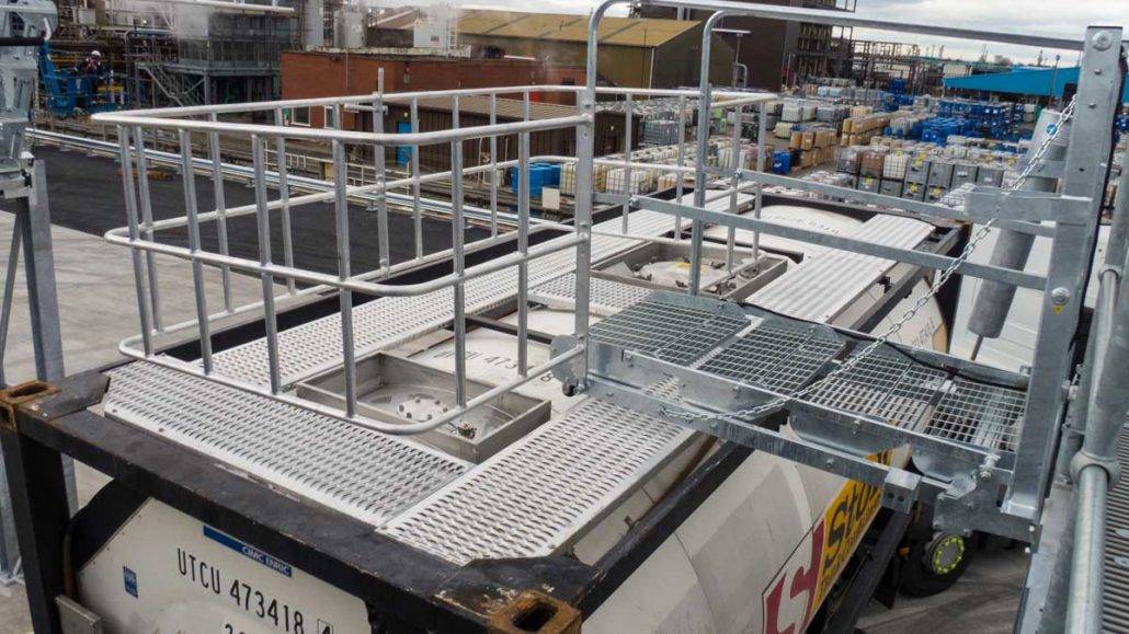 Carbis Loadtec Large Safety Cage and Folding Stairs In Situ - Teesside, UK