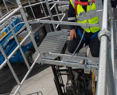 Carbis Loadtec Service Installing Folding Stairs and Large Safety Cage - Teesside, UK