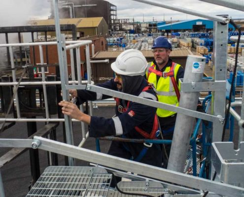 Loadtec Service Team Installing Large Safety Cages and Folding Stairs - Teesside, UK