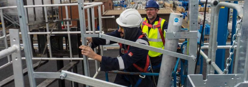 Carbis Loadtec Service Team Installing Large Safety Cages and Folding Stairs - Teesside, UK