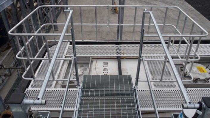 Loadtec Service Top View from Folding Stairs Onto Large Safety Cage - Teesside, UK