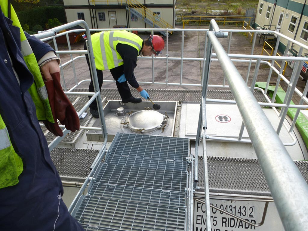 Loadtec Fall Prevention Systems - Worker Accessing Tanker Top Safely
