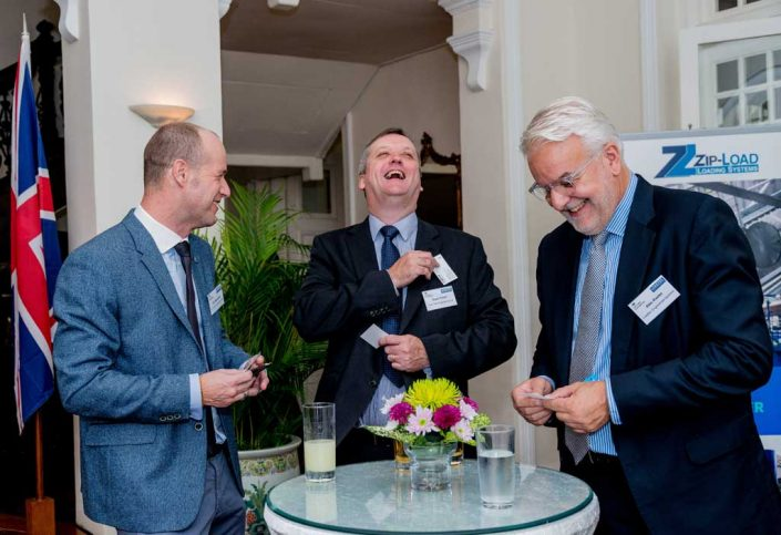 Loadtec MD Alec Keeler networking with guests at Eden Hall, Singapore