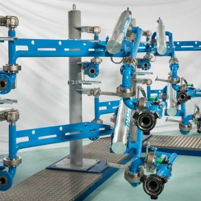 Loadtec Zip-Load LPG Arms - Front on View in Factory